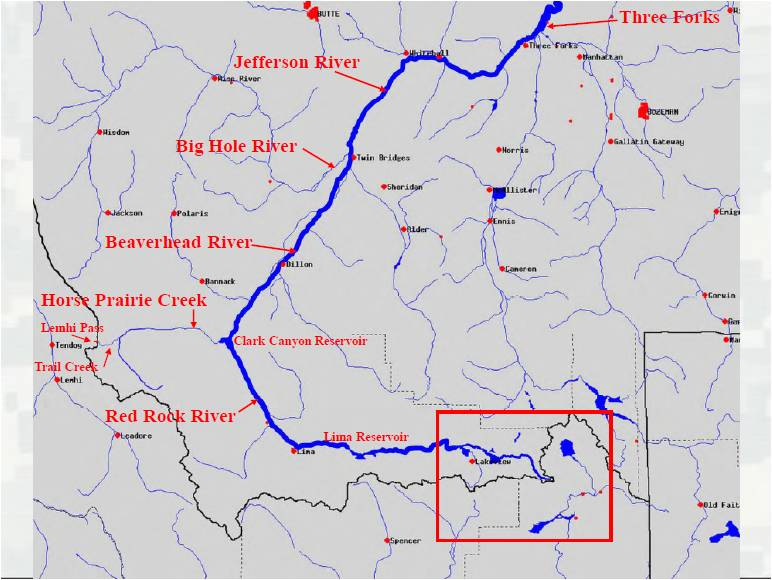 Three Forks Loveyourbigmuddy Expedition - Missouri river on world map