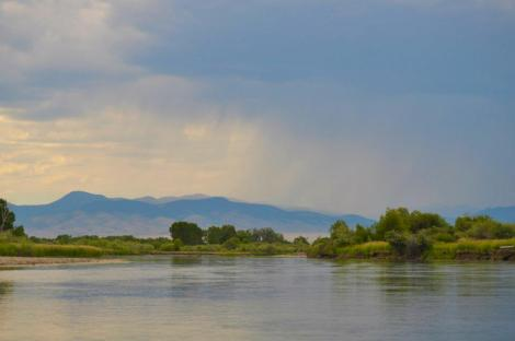 Rain approaching Jefferson River (photo by Norm Miller)
