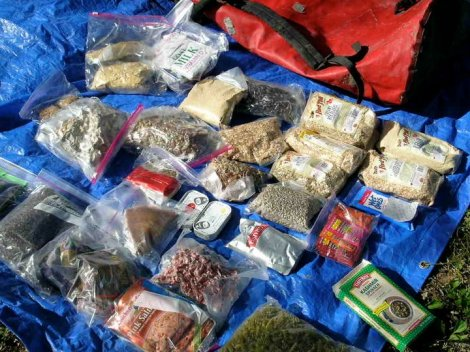Here is one of Norm Miller's re-supply packs from his trip UP the Missouri River.