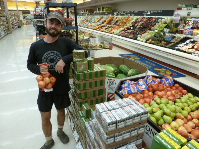 Dom Liboiron resupplying food.