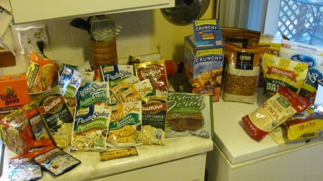 Some of the food items I have begun collecting.  I will make my own trail mix.