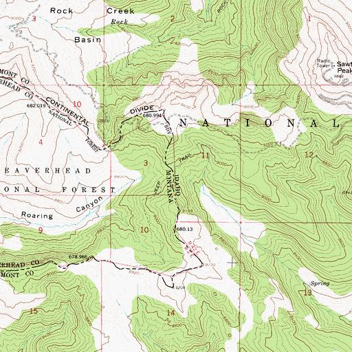 """Sawtelle Road switchback upper right, and Brower's Spring under the """"3"""" in the center, at the end of Hellroaring Creek where white meets green on the map."""