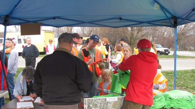 The City of St. Charles was there to help register volunteers.