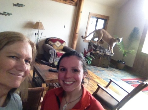 The next morning at the Lodge, I had the pleasure of meeting more staff: Monica (I hope that is correct), Heli, and Kat, shown here. Kat was enthusiastically interested in my adventure and had only been working at the Lodge for 13 days. She is from the Midwest ;).