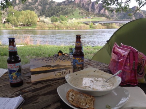 Courtney and 5-star chef Jeffrey took great care of me while I was camped down by the river under the willow tree. The BEST corn chowder, buttered bread and Montana beers! I will never forget their kindness.
