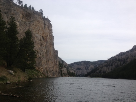 """Meriwether Lewis, July 19, 1805 (he camped right across the river): """"...this evening we entered much the most remarkable cliffs that we have seen yet. These cliffs rise from the waters edge on either side perpendicularly to the hight of 1200 feet. Every object here wears a dark and gloomy aspect. The towering and projecting rocks in many places seem ready to tumble on us. The river appears to have forced it's way through the immense body of solid rock for the distance of 5 3/4 miles and where it makes it's exit below has thrown on either side vast columns of rocks mountains high."""""""