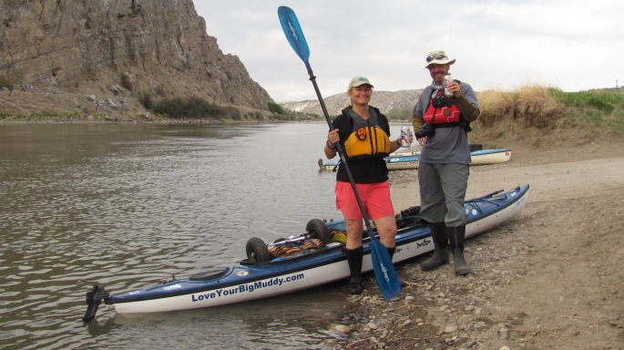 Norm and I at Three Forks, the headwaters of the Missouri River, after paddling together for about three hours.