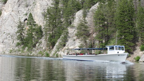 Not unusual in the Gates of the Mountains: the tour boat. People were friendly and waved, as did I.