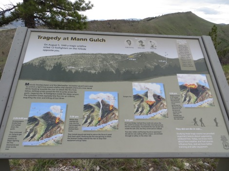 Some information at the overlook about the Mann Gulch Fire, in which 13 men lost their lives.