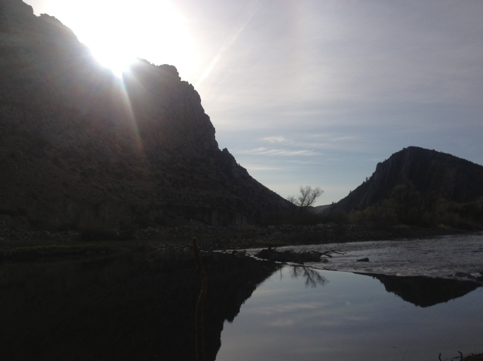 Sun peaking out from behind the rock at my diversion dam camp. Everything is always better with a little sunshine.