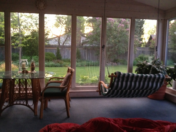 This is John and Keely's back screened in porch which has a double bed. This was my bivy in Great Falls. Sweet, eh?