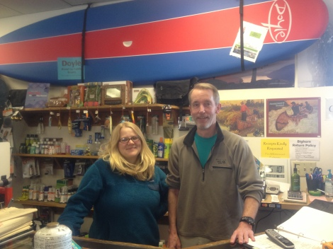 The staff at Bighorn Outdoor Specialists. They gave me a sweet pro deal on supplies I needed, like a water filter, Cliff Bars, stove fuel and new sunglasses. Thanks, guys!
