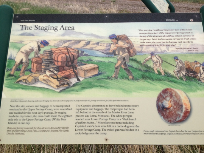 You can find a series of educational signs way out in the middle of nowhere, but right in the vicinity that the Corps of Discovery staged their portage. No easy feat it was.