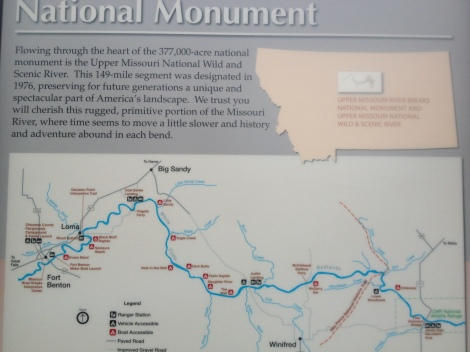 This map shows my route coming up, all the way through the Missouri River Breaks National Monument. (Coal Banks to James Kipp Recreation Area,)