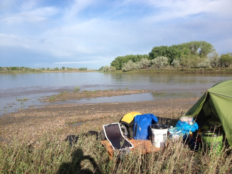 My camp between Fort Benton and Coal Banks, which is the developed campground right before entering the Upper Missouri River Breaks National Monument. I had to find a spot in a hurry because it was getting late. A little muddy, on the upriver point of an island, but level.