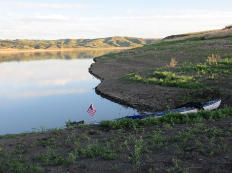 My first campsite on Fort Peck Reservoir, photo taken from my tent. I took a sponge bath here and washed some clothes. I was feeling really good.