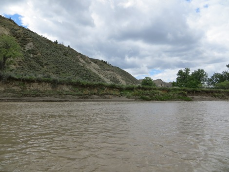 The Nez Perce likely walked along this narrow shoreline. The geography of the river and mountains is still very similar, based on records of the route they walked.