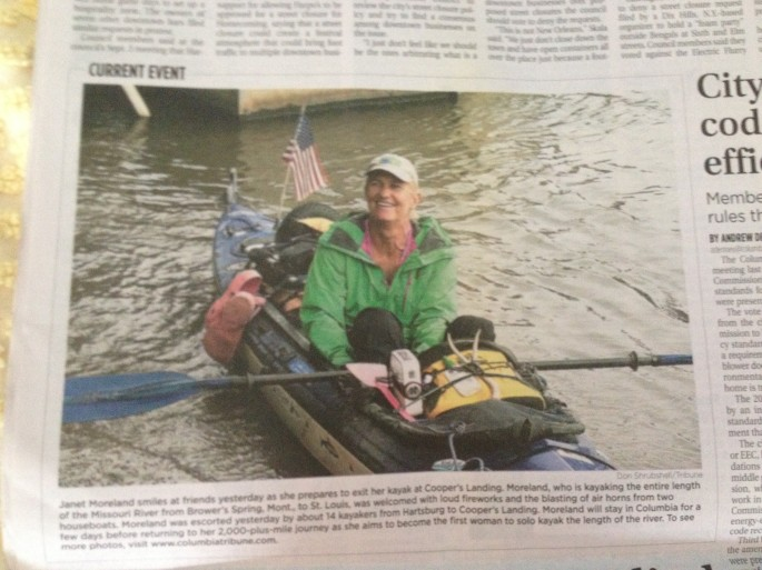 My landing at Cooper's Landing made it in the Columbia Daily Tribune.