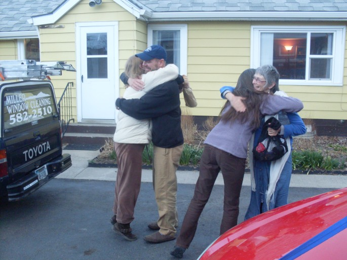 Meeting and hugging Norm for the first time. Kristin and Jeannie, too. Hugs all around. Fun!