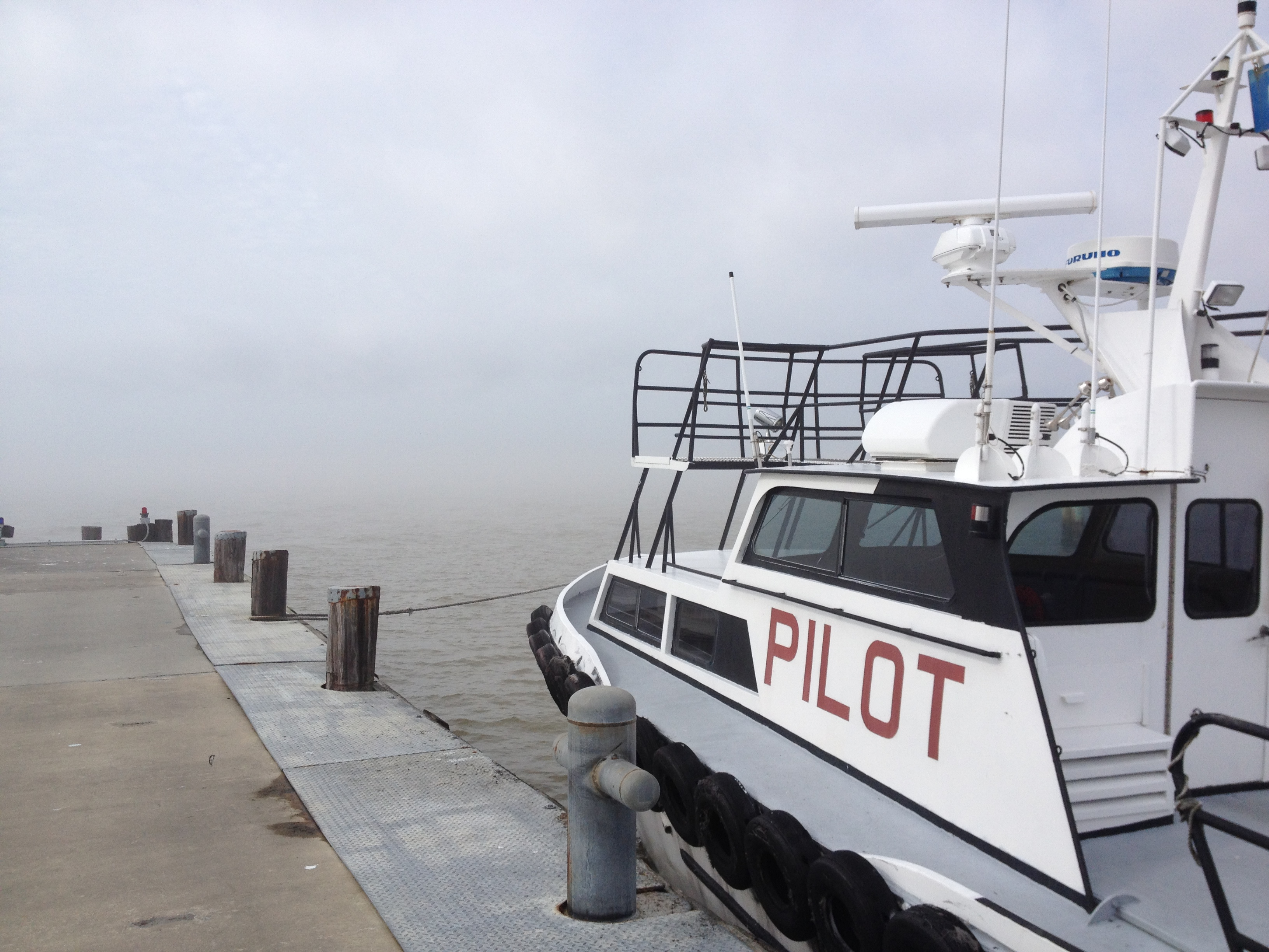 The fog was thick the 10 miles from Venice to Pilottown, which is located one mile above Mile Zero. The Gulf of Mexico is 12 miles from Mile Zero down South Pass.