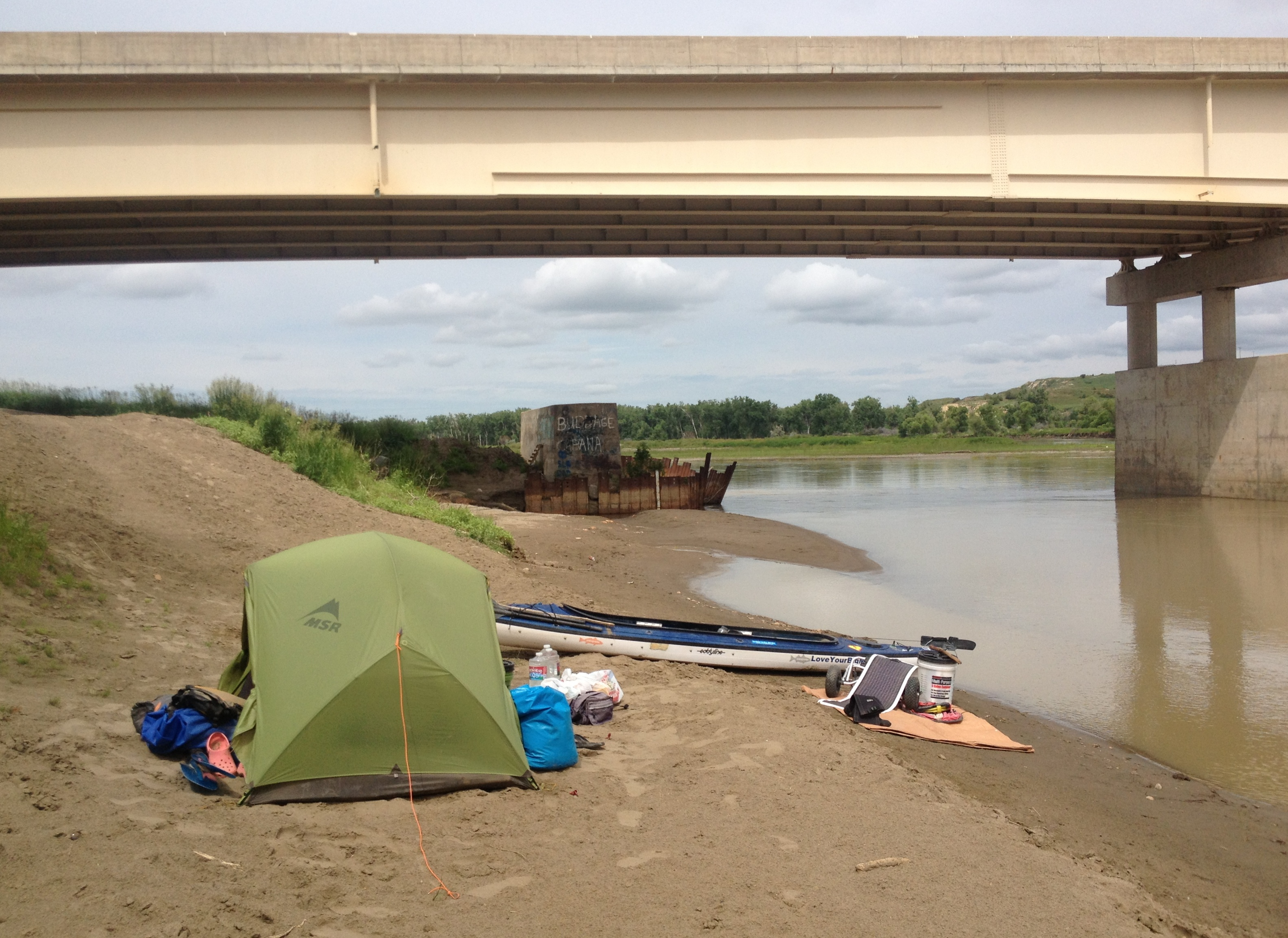 Highway 16 Culbertson Bridge camp