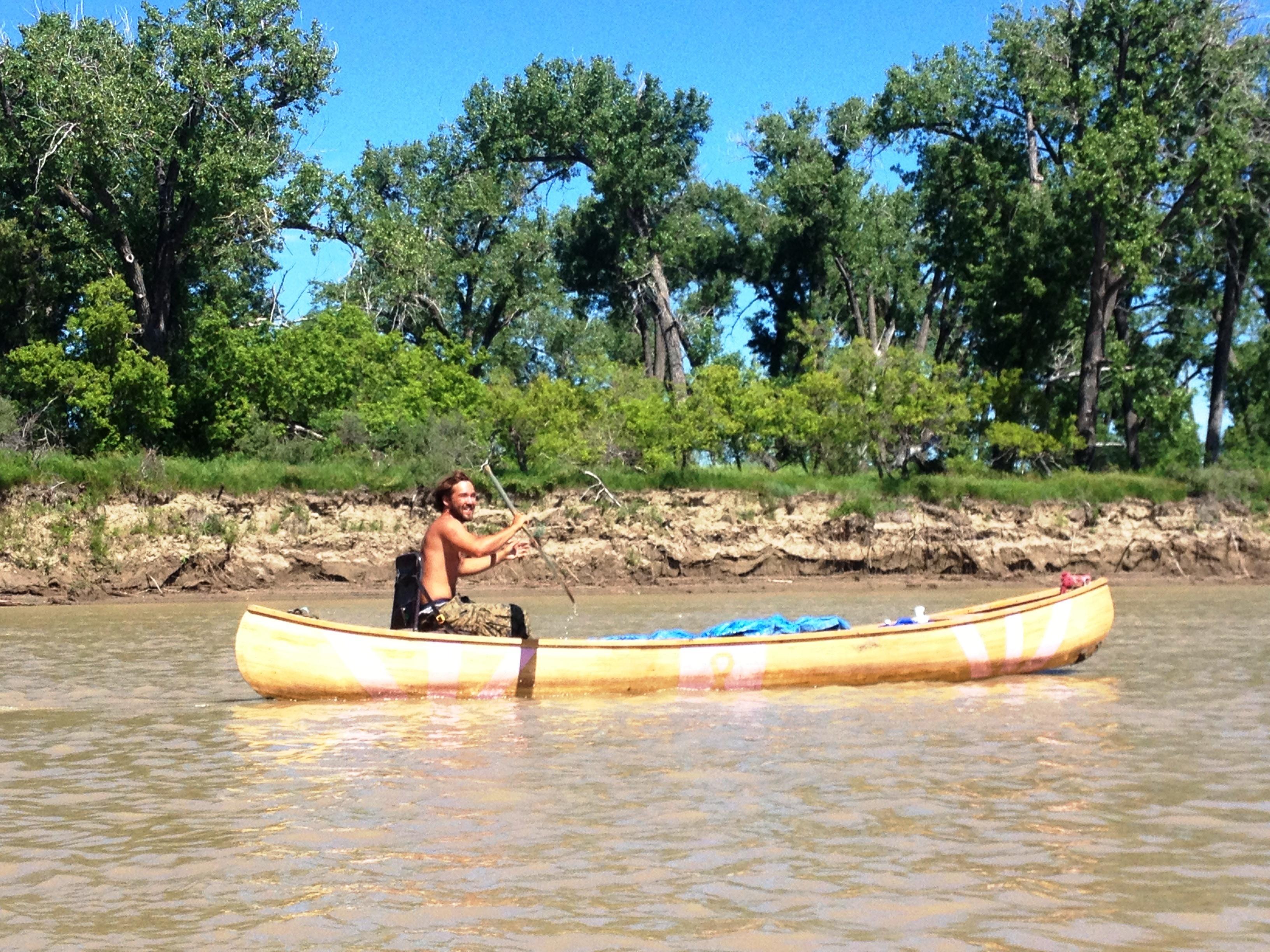 Shawn Hollingsworth in his self-made canoe. Shawn was raising awareness for breast cancer.