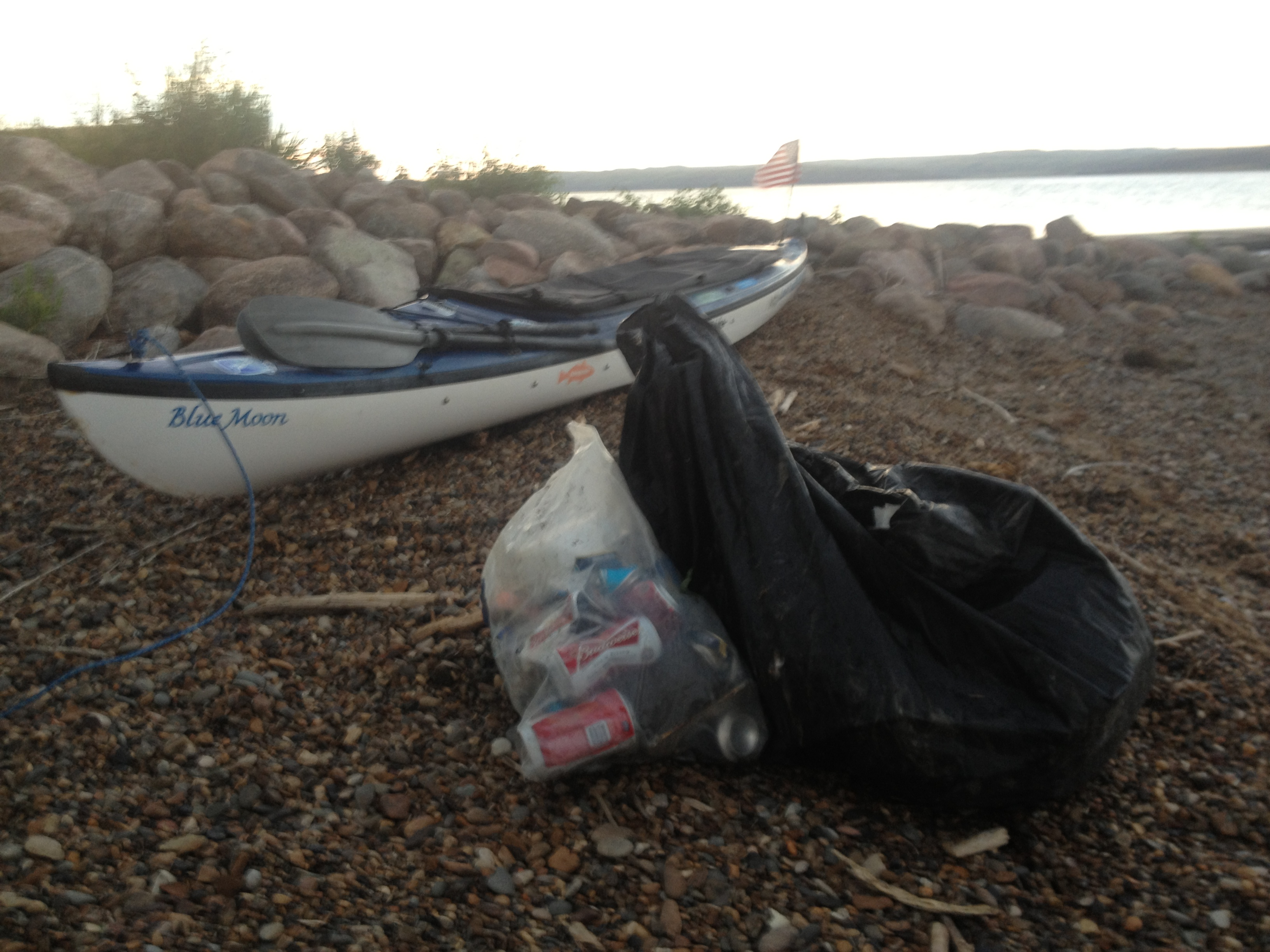Not a whole lot to do once I set up camp at the Little Bend Boat Ramp, so I picked up trash.