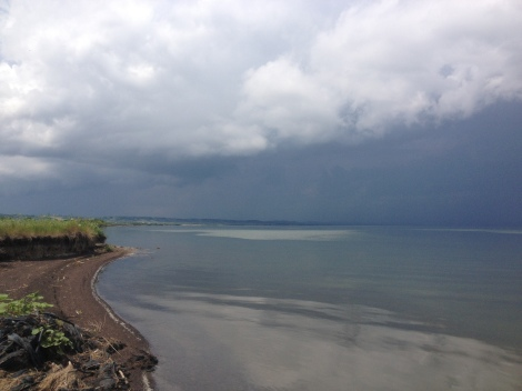 A little northern squall heading right for me on Lake Sharpe near Lower Brule. After I hauled everything up out of the water and covered up with a tarp, the storm broke apart. That was good, I guess, even though I was prepared for it.