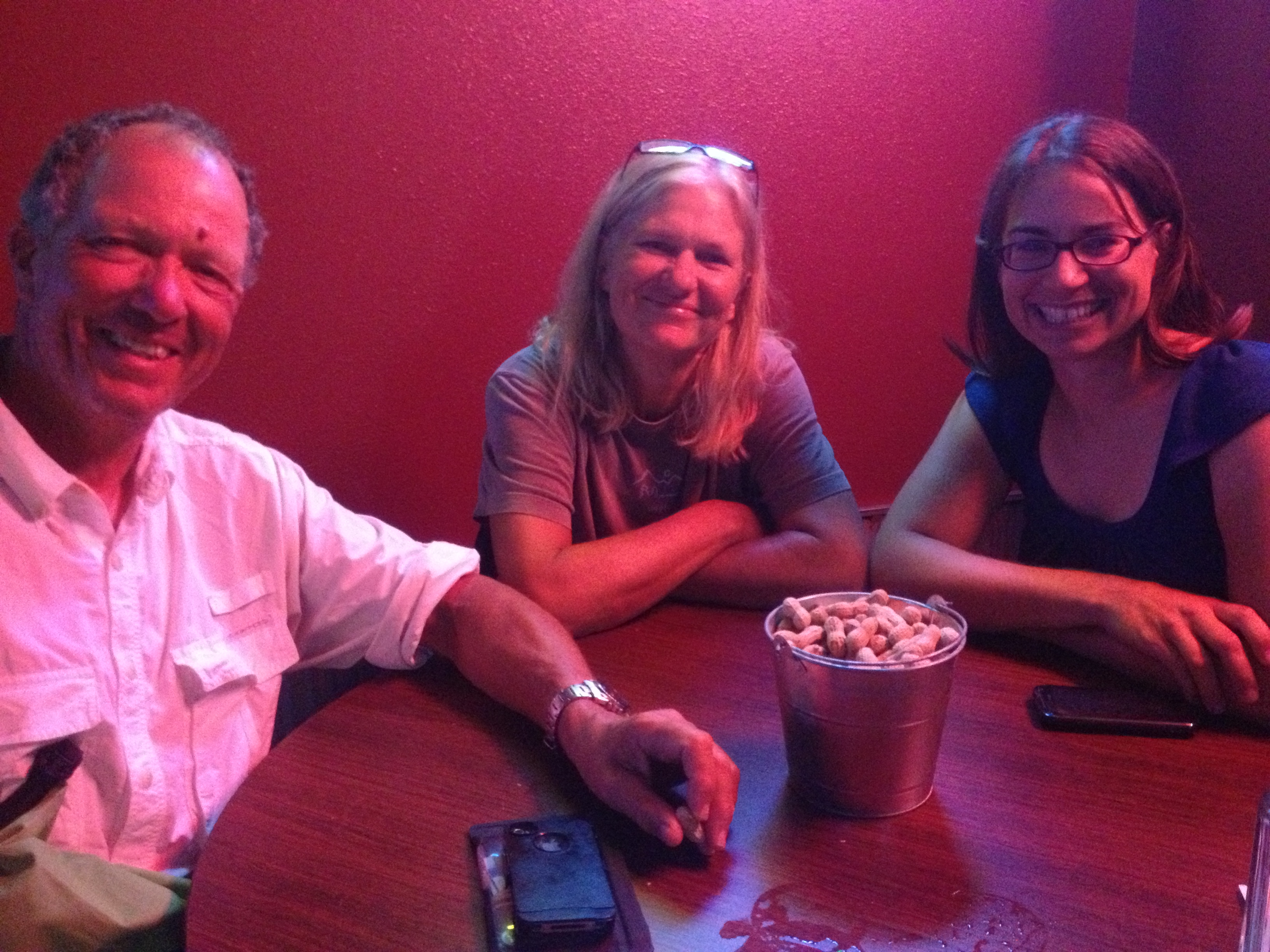 David Forbes, me, and Jessica Andrews Giard enjoying dinner together at the Marina in Chamberlain, SD.