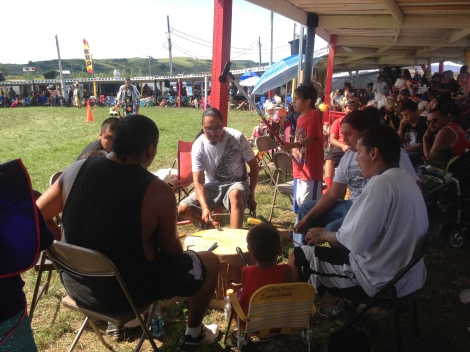One of the many drum circles competing at the Powwow