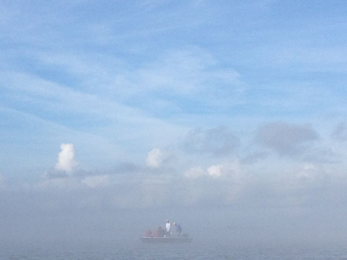 My stellar support crew in the Gulf fog